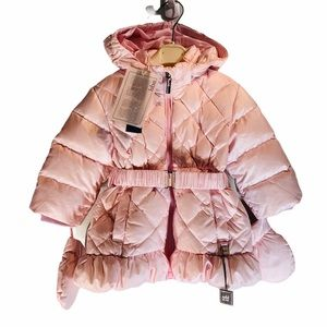 ADD DOWN*Light Pink Hooded w/Mitts Coat*9 Mo. $425